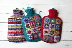 Granny square hot water bottles