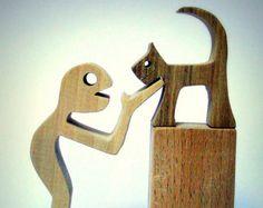 sculpture bois chantourné un homme et son chat by 2virgule5d