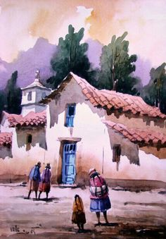 Spray Painting, Watercolour Painting, Pintura Colonial, Arte Latina, Composition Painting, Peruvian Art, Southwest Art, Mini Paintings, Landscape Art
