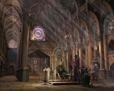 Reon Couteau palace throne room Réon Couteau s throne room rose through all three of the castle s stories Th Fantasy landscape Fantasy castle Fantasy places