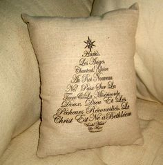 French Christmas Pillow with the words to Hark the Herald Angels Sing