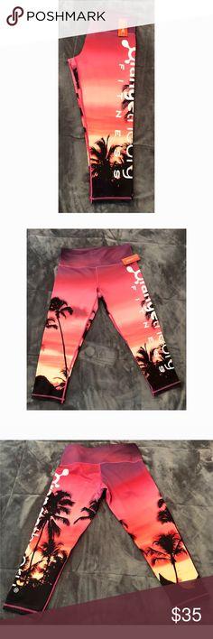 "Orange Theory Fitness Sunset Capri. Colorful sun set ladies capri. Measures waist 15""  and 30"" length. orange theory Pants Capris"