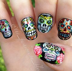 Fancy - Mexican sugar skull nail art