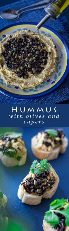 Recipe of delicious Mediterranean hummus, topped with black olives and capers. Give it a try!