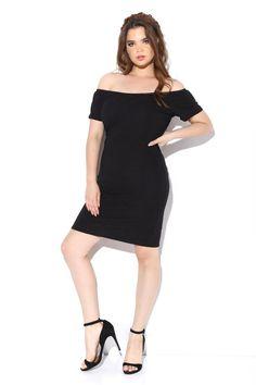 Textured Midi Off Shoulder Dress Dresses+ GS-LOVE