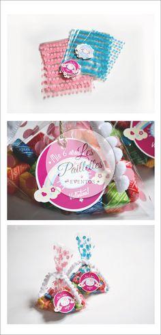 BOLSAS GOLOSINAS. HELLO KITTY. Bolsas polipropileno lunares+ Tag Agradecimiento + Cinta #souvenirs #tags #party #cumpleaños #6years #kitty #dots #candybar #birthday