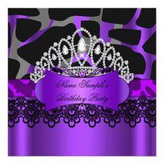 """Tiara Leopard Purple Lace Wild Birthday Party 5.25"""" Square Invitation Card"""