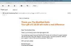 In March 2015 The Modified Dolls UK Chapter supported MS Society UK and raised £20 (+ £5 Gift aid) for this great charity. #ModifiedDolls #UKDolls #SupportingCharities #fundraising #donation #mssocietyuk