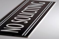 Amazon.com : JP Signs - No Soliciting Sign - 9 X 3 Inch Engraved Premium Office Signage for Door (Black / White) - Not a Sticker - Keeps Unwanted Visitors Away - Highly Noticeable - Elegant for House, Office, Cafe - Professional Material - 20 Years Guarantee. : Office Products