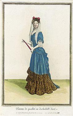Jean Dieu de Saint-Jean (flourished 1675 - flourished 1695)   Recueil des modes de la cour de France, 'Femme de Qualité en Deshabillé d'Esté', 1683