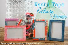 Washi Tape Photo Frames via Brown Girl Decorating Bing Bilder, Show Me Photos, Foto Frame, Washi Tape Crafts, Decorative Tape, Girl Decor, Little Flowers, Brown Girl, Masking Tape
