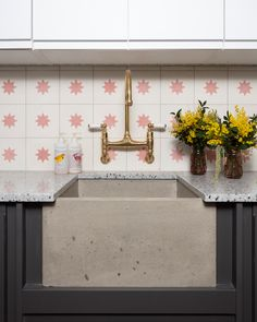 Seen here in @pinkhousepins utility room our Ionian mixer in polished bras can be wall mounted making it the perfect choice for compact spaces. 📸 @susieblowe #utilityroom #perrinandrowe #polishedbrass #brasstap #brassdecor #brasstapinutilityroom Brass Tap, Basement Office, Layout, Kitchen Taps, Vintage Kitchen Decor, Just Start, Pink Houses, Basic Colors, Colours