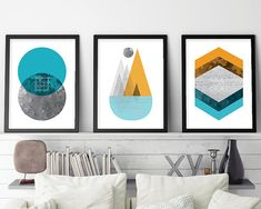 Set of 3 Geometric Prints, Geometric Print Set, Minimalist Posters, Scandinavian Prints, Scandinavian Modern, Mountain Print, Printable Art THESE ARE INSTANT DOWNLOADS – Your files will be available instantly after purchase. :::: Please note that this is a digital download ONLY,