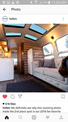 Sky lights are a must! ♡ and beautiful comfortable couch Airstream Remodel, Airstream Motorhome, Airstream Camping, Glamping, Airstream Interior, Airstream Living, Airstream Renovation, Trailer Interior, Trailer Remodel