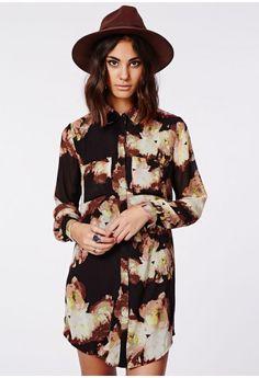 Holly Oversized Longline Shirt Dress Floral Print - Dresses - Shirt Dresses - Missguided