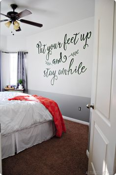 I would use different lettering but what a great idea for a guest bed room.