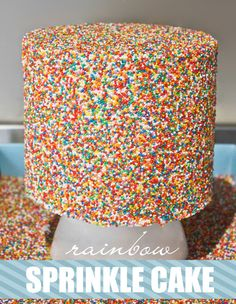 Our kids would go nuts for this easy Rainbow Sprinkles Cake recipe