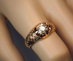 Antique Fancy Color Old European Cut Diamond Gold Men's Ring image 4