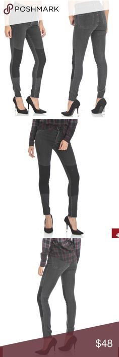 """• Ivy High Rise Skinny Stretch Jeans in Black • Skinny Buffalo jeans for the loud and proud street fashionista! Featuring steel patchwork, five-pocket design, belt loops, zip fly and single button fastening. 78% cotton, 15% polyester, 7% lycra. Model measurements: Height: 5'9"""" (182 cm), Hips: 36"""" (93 cm)  These were worn once for a photo shoot. New condition. Does not come with tags.   ❣ ABSOLUTELY NO PP OR TRADES ❣ Buffalo David Bitton Jeans Straight Leg"""