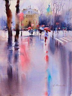 City Watercolour - love the puddle/rain technique, so cool!