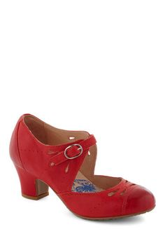 Book Clubbing Heel by Brako - Solid, Eyelet, Vintage Inspired, 20s, Mid, Leather, Red, Work, Daytime Party, Mary Jane, 60s