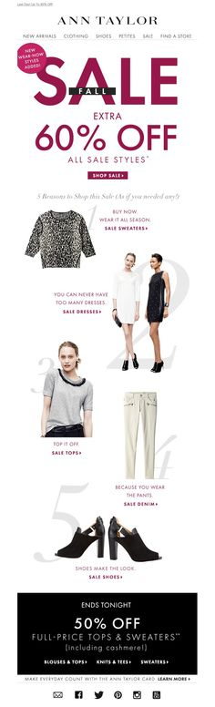 #newsletter Ann Taylor 10.2014 On Its Way Out: Extra 60% Off!