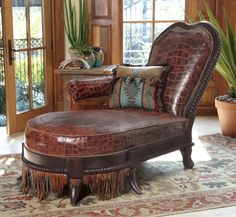 Iron Mountain Chaise from Crow's Nest Leather Furniture, Home Furniture, Hickory Furniture, Distressed Furniture, Unique Furniture, Western Decor, Western Style, Equestrian Decor, British Colonial Style
