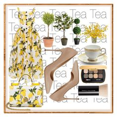 """Lemon Tea"" by fashionkingny ❤ liked on Polyvore featuring Dolce&Gabbana, Sergio Rossi, Pier 1 Imports, Prouna and Bare Escentuals"