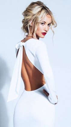 Elegant Backless Bowknot White Homecoming Dress Long Sleeve Short Prom Gown. www.27dress.com