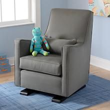 Nursery Gliders: Charcoal Grey Upholstered Monte Luca Glider and Ottoman in Rockers and Gliders