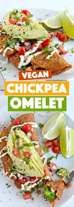 Breakfast just got EASY and tasty with this simple to make vegan Chickpea Omelet for (Vegan Recipes Healthy) Vegan Breakfast Recipes, Vegetarian Recipes, Healthy Recipes, Free Recipes, Healthy Food, Vegan Foods, Vegan Dishes, Vegan Cru, Whole Food Recipes