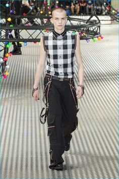 Dior Homme channels New Wave punk with checks and sleeveless options for spring-summer 2017.