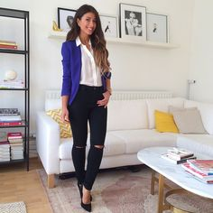 Mimi Ikonn | White shirt, blue Klein blazer, black ripped jeans, black heels. Office outfit