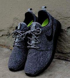 9361a48a8a42 Womens Nike Roshe Run Black White Dots Safari Spots Flyknit Fragment Triple  Grey - online womens shoes
