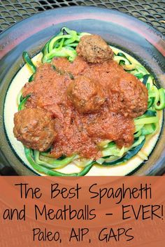 This amazing dish is simple to make and tastes amazing! It will totally satisfy your spaghetti and meatballs craving. Paleo Spaghetti and Meatballs (AIP, GAPS Intro) - AIP Spaghetti and Meatballs by How We Flourish. Paleo Spaghetti, Best Spaghetti, Spaghetti And Meatballs, Gaps Diet Recipes, Real Food Recipes, Cooking Recipes, Healthy Recipes, Paleo Food, Food Tips
