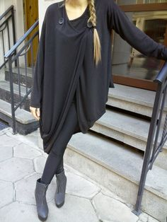 Asymmetric Extravagant Black Cardigan / Women Vest / by shopMyJ