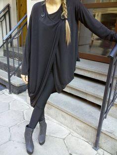Asymmetric Extravagant Black Cardigan / Women Vest / by shopMyJ