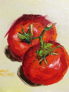 """Daily Paintworks - """"tomatoe study"""" - Original Fine Art for Sale - © Marie Lou Caccam Fruit And Veg, Fruits And Vegetables, Observational Study, Soft Pastels, Fruit Art, Beautiful Drawings, Pears, Painting Inspiration, Acrylics"""