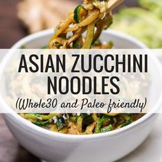 Asian Zucchini Noodles are a and Paleo friendly keto way to enjoy your favorite Asian noodles without the guilt. Made with ginger, garlic, coconut aminos, and sesame seeds this noodles couldn't be more delicious. Zucchini Noodle Recipes, Zoodle Recipes, Spiralizer Recipes, Veggie Recipes, Asian Recipes, Healthy Dinner Recipes, Whole Food Recipes, Zucchini Noodles, Vegetarian Recipes