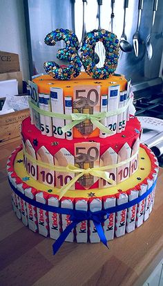 Money cake 30 years - Silver anniversary - cake # Si… - Birthday present Silver Anniversary Gifts, Girlfriend Anniversary Gifts, Anniversary Surprise, Anniversary Funny, Anniversary Ideas, Diy Birthday Pin, Unique Birthday Gifts, 30th Birthday, Birthday Cake