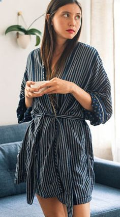 See! It is cute... On a model...  ace&jig fall13 kimono robe in confetti, exclusive at Of a Kind