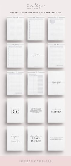 Ultimate Lifestyle Planner Kit, 71 Pages Printable PDF | Created by @IndigoPrintables The Lifestyle Planner Kit contains everything you need to organise your lifestyle, including the Inspire Collection Pack. The Lifestyle Kit has been carefully designed to help you design a life you