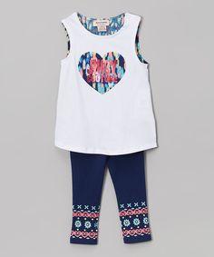 White & Blue Tulip-Hem Tunic & Leggings - Infant & Toddler