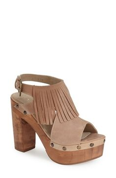Free shipping and returns on five worlds by Cordani 'Tijuana' Fringed Slingback Platform Sandal (Women) at Nordstrom.com. A smooth finish highlights the natural grain of the chunky wood heel and platform on a fringed slingback sandal punctuated by brassy studs.