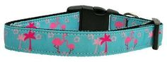 Mirage Pet Products Pink Flamingos Nylon Ribbon Dog Collar, Large >>> Check out the image by visiting the link. (This is an affiliate link and I receive a commission for the sales) Puppy Collars, Dog Collars & Leashes, Cowboy Corgi, Designer Dog Clothes, Tropical Design, Collar Designs, Medium Dogs, Collar And Leash, Pink Flamingos