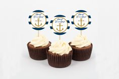 Nautical Anchor Cupcake Toppers / Navy Blue by LittlePrintsParties