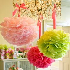 Lilly Pulitzer Party Pom Poms | Lifeguard Press. Great decorations for the holidays. Pink and green is the new red and green, thanks to Lilly! #LillyHoliday