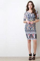 Semi-Sheer Tribal Print Midi Dress