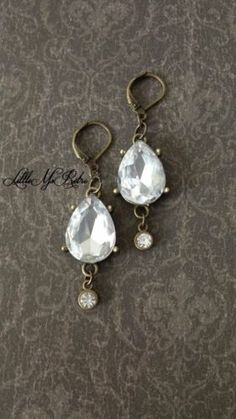 BID ON EBAY!!!  Handcrafted Distressed Metal with Teardrop Gem & Smaller Gem Dangle Earrings