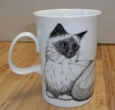 Kate Mawdsley Cats-Eyes Pointed Siamese Tonkinese Dunoon Bone Tea Cup Coffee Mug